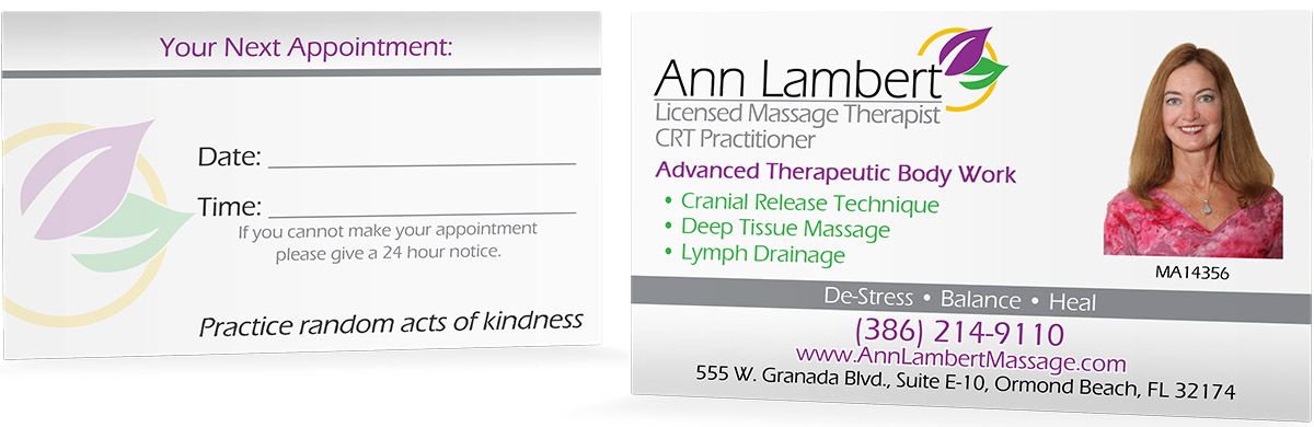 Massage Therapist Business Card Design